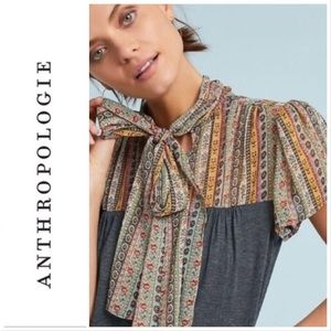 Anthropologie Tiny Kari Margarite Neck-Tie Top S